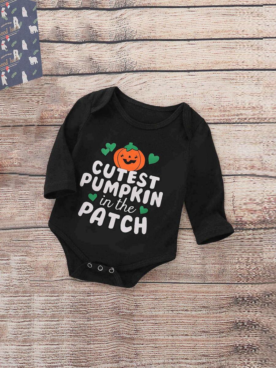 Toddler Boys Letter & Halloween Print Jumpsuit