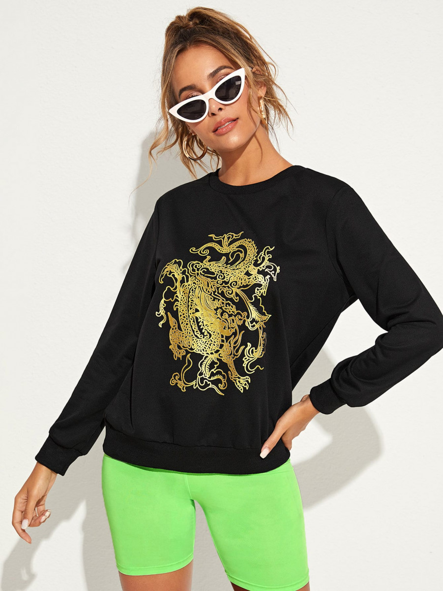 Dragon Print Round Collar Sweatshirt