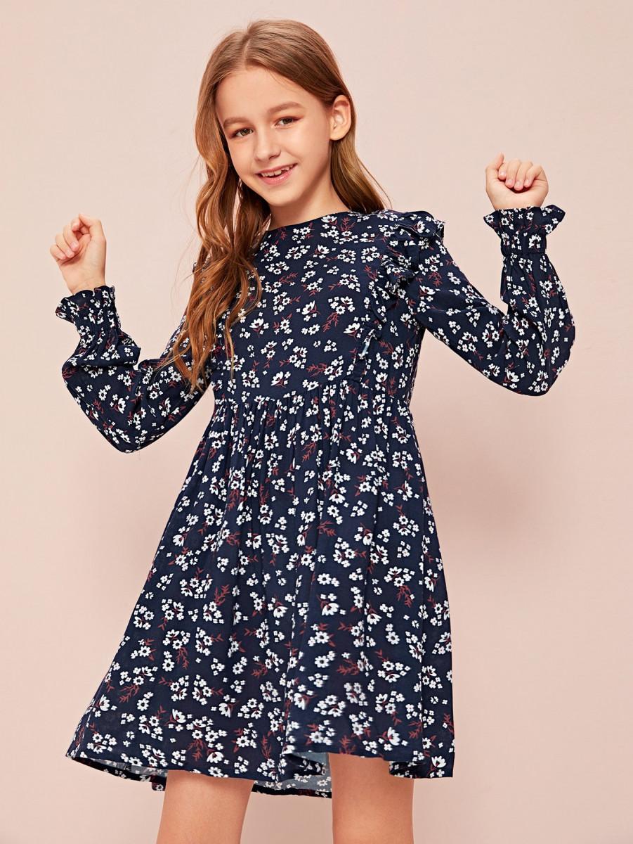Girls Ruffle Trim Ditsy Floral Print Smock Dress