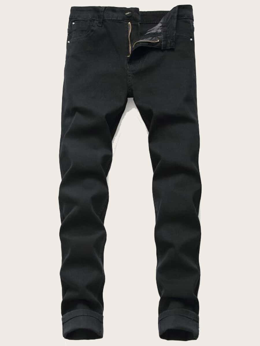 Men Straight Leg Solid Jeans