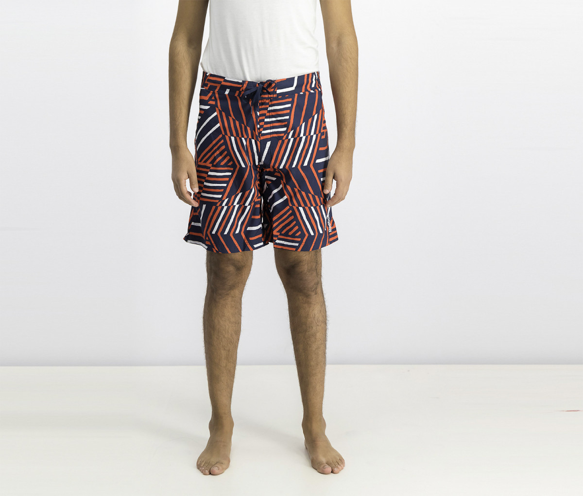 Reebok Mens Striped Boardshort  Red/Navy