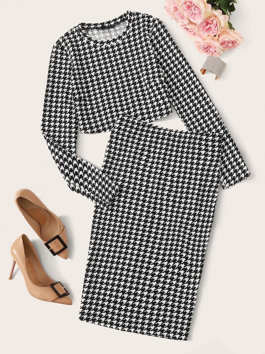 Houndstooth Print Crop Top & Slit Pencil Skirt Set