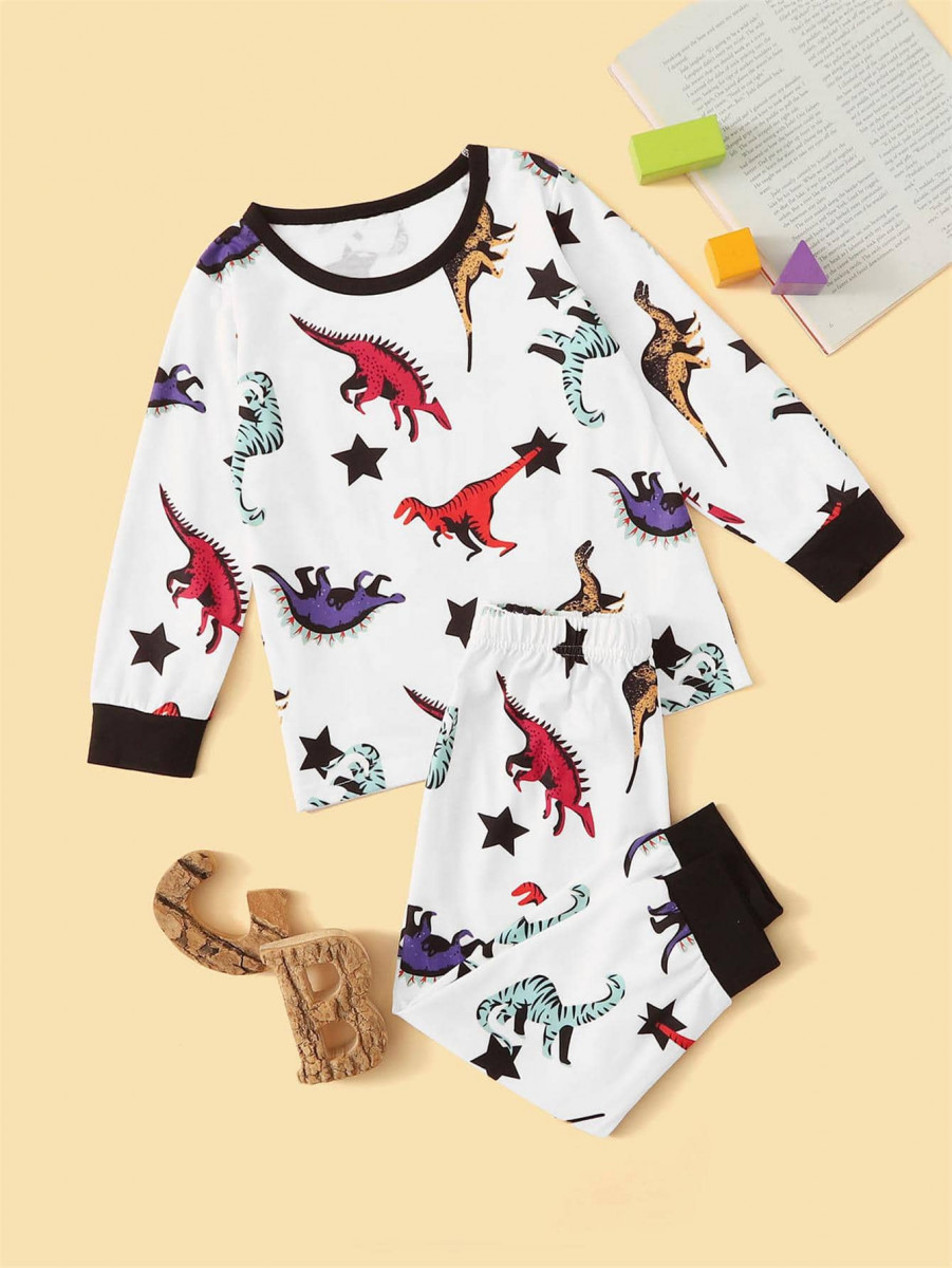 Toddler Boys Dinosaur Print PJ Set