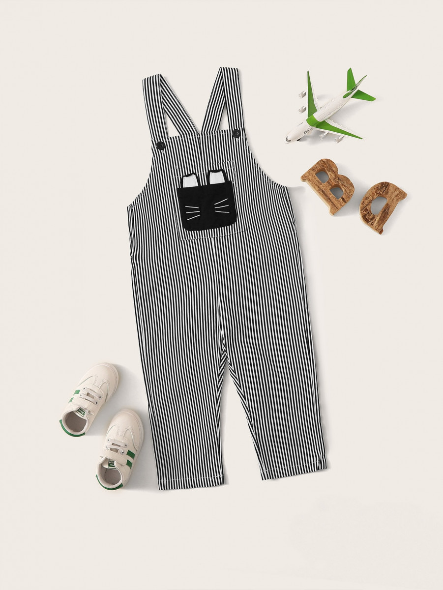 Toddler Boys Pocket Patched Striped Overalls