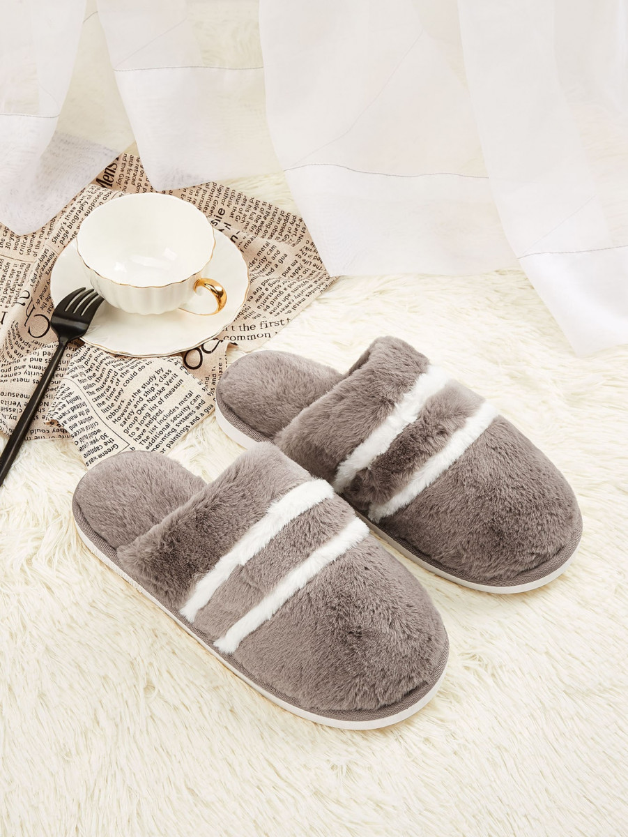 Men Striped Fluffy Slippers