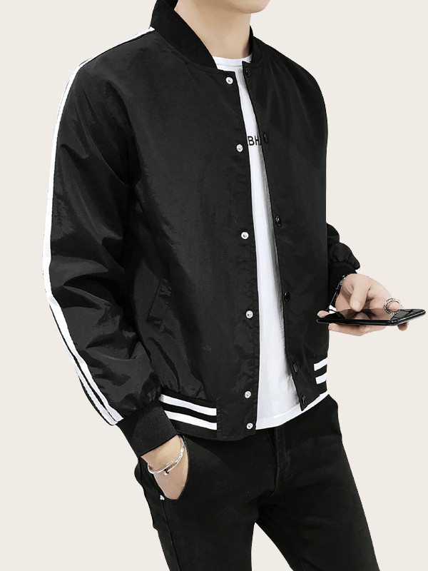 Men Side Stripe Bomber Jacket