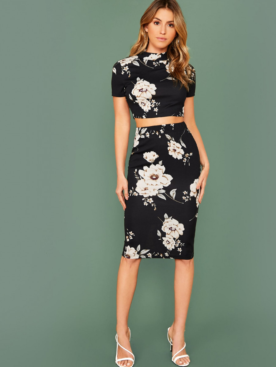 Floral Print Crop Tee and Pencil Skirt Set