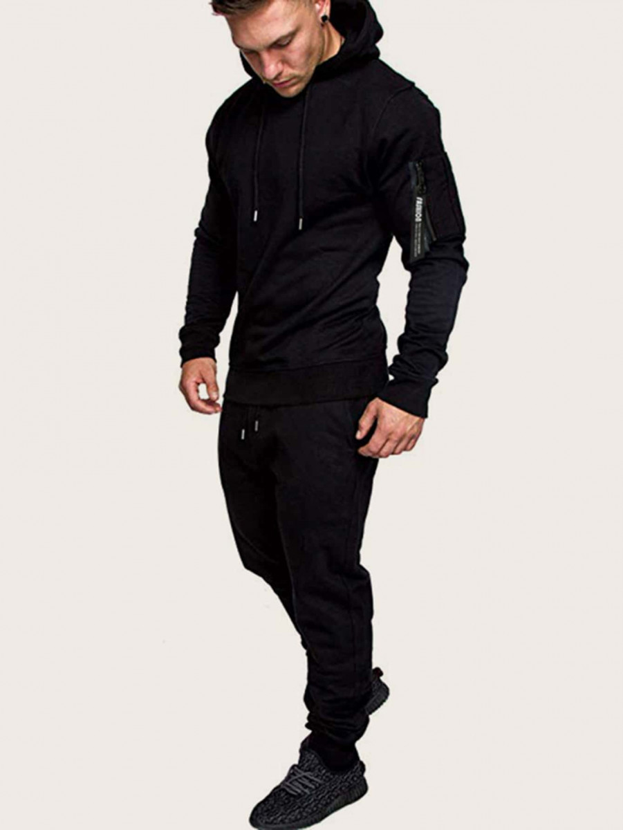 Men Letter Ribbon Drawstring Hoodie & Sweatpants