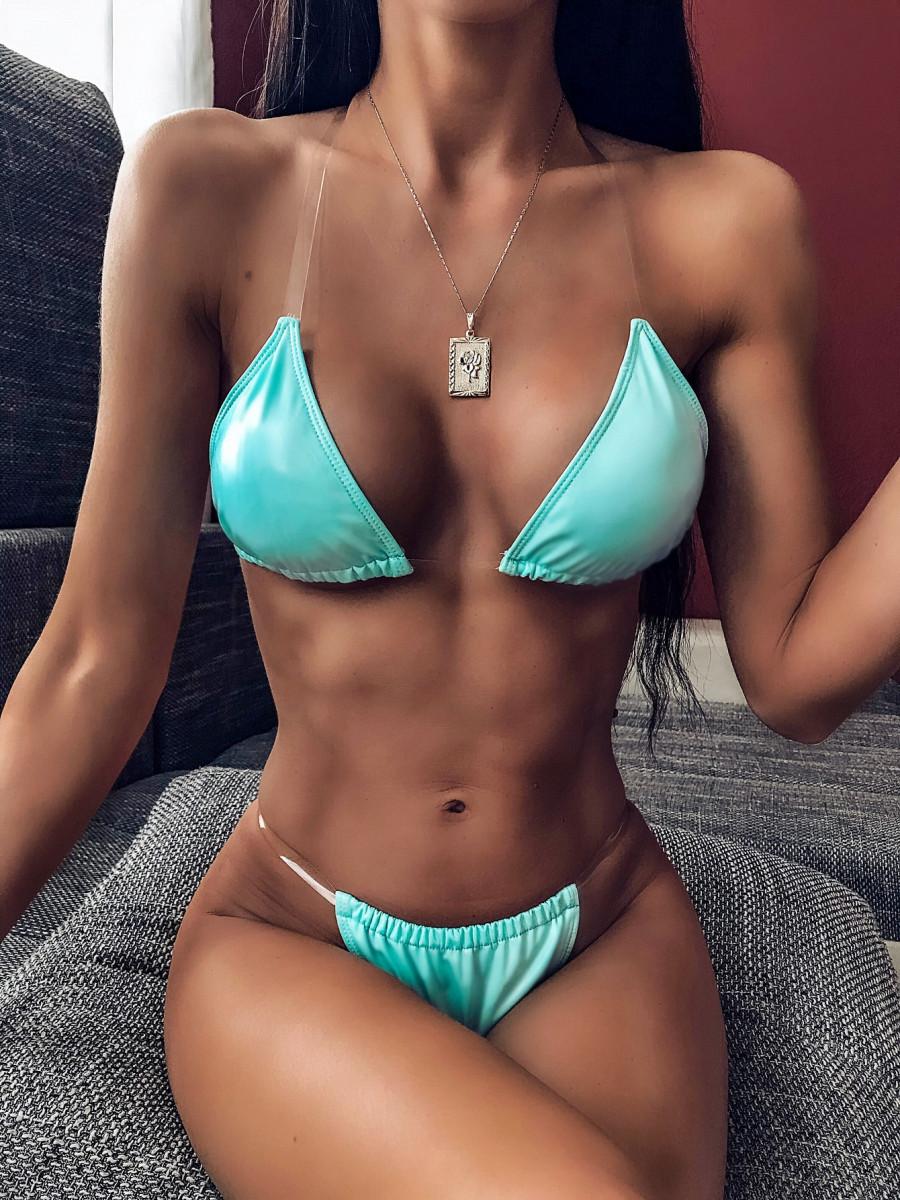Triangle Halter Top With High Cut Bikini Set