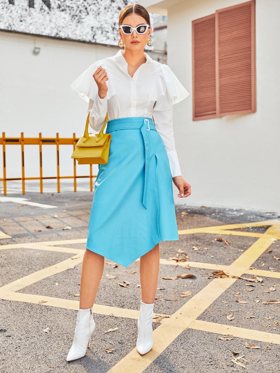Belted Zipper Back PU Asymmetrical Skirt