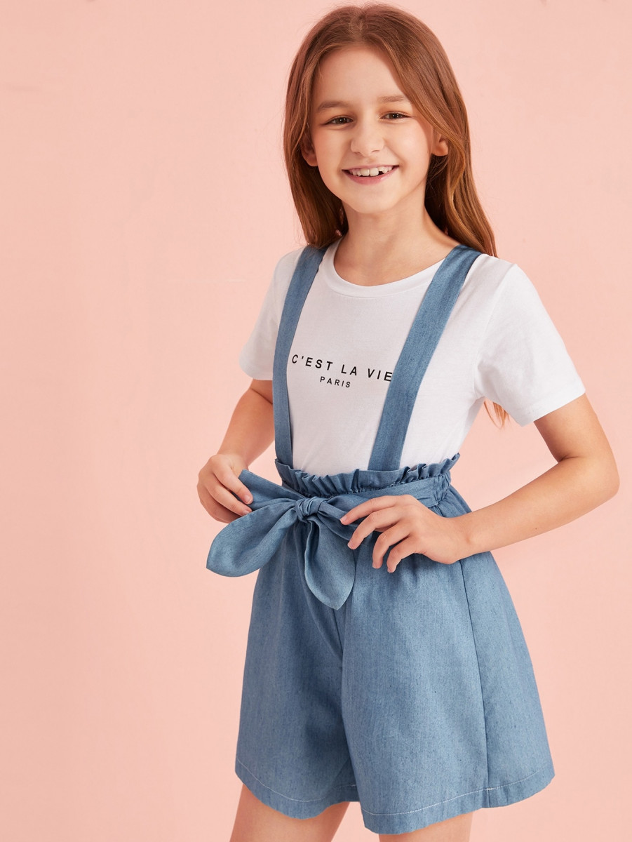 Girls Paperbag Waist Denim Pinafore Shorts