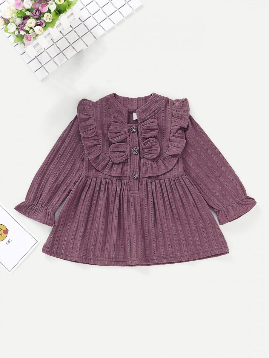 Toddler Girls Frill Trim Solid Dress