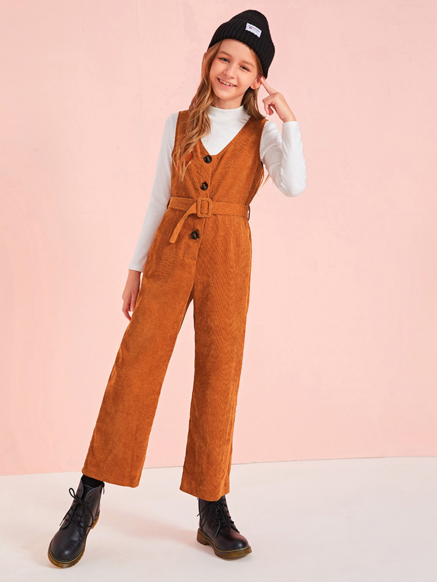 Girls Button Front Cord Jumpsuit With Buckle Belt