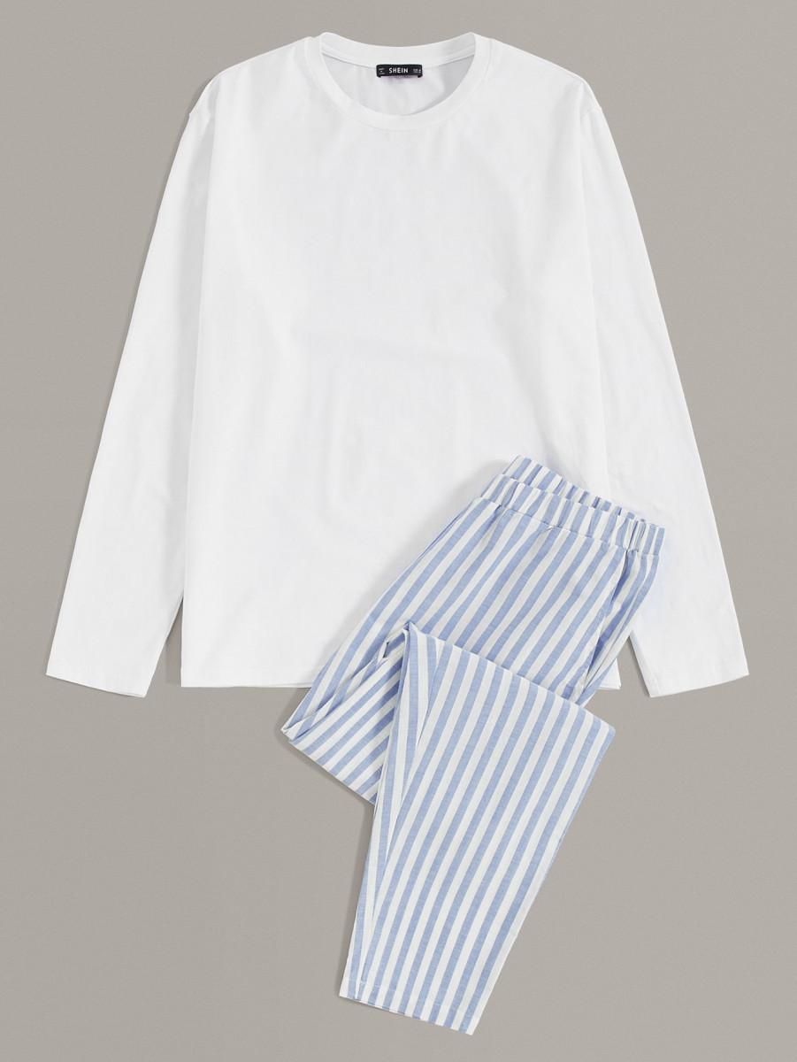 Men Solid Tee and Slant Pocket Striped Pants PJ Set