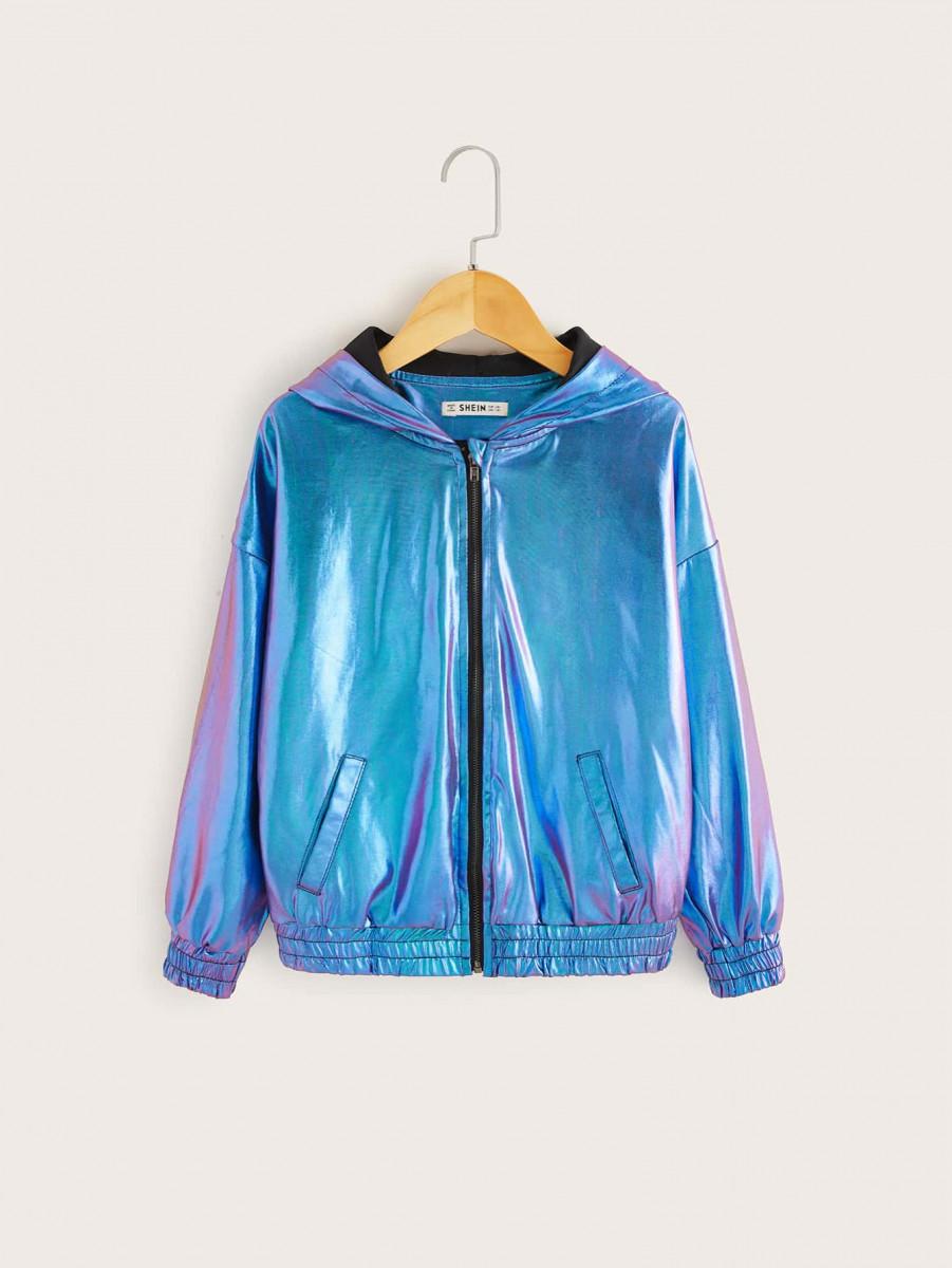Girls Zip Up Metallic Hooded Jacket