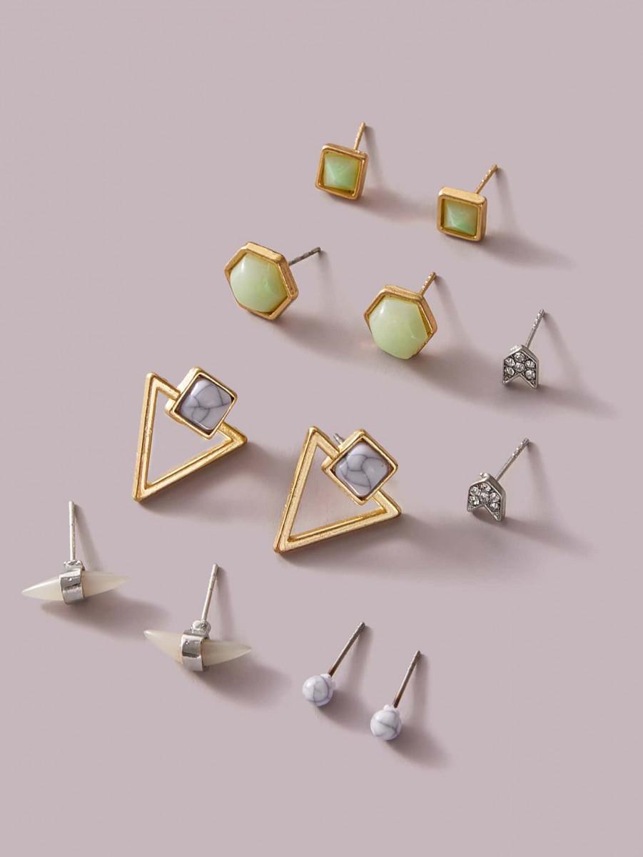 6pairs Geometric & Stone Decor Earrings