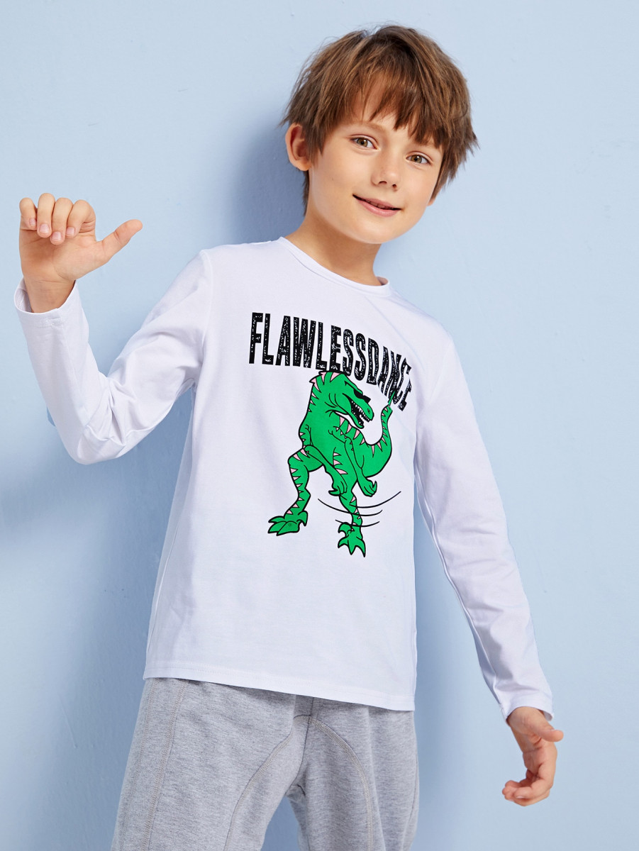 Boys Dinosaur and Letter Graphic Tee