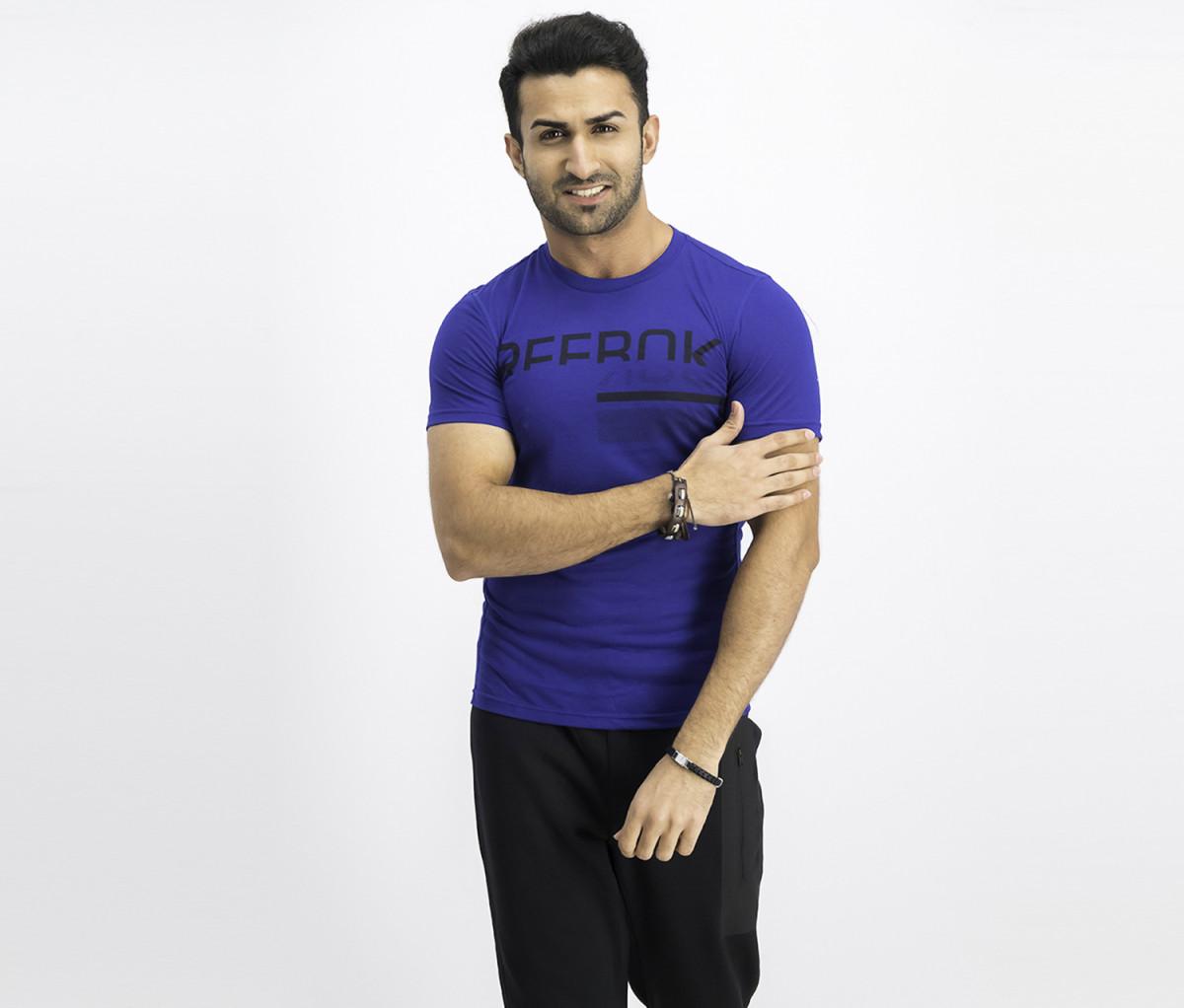 Reebok Mens Graphic Print T-Shirt  Blue