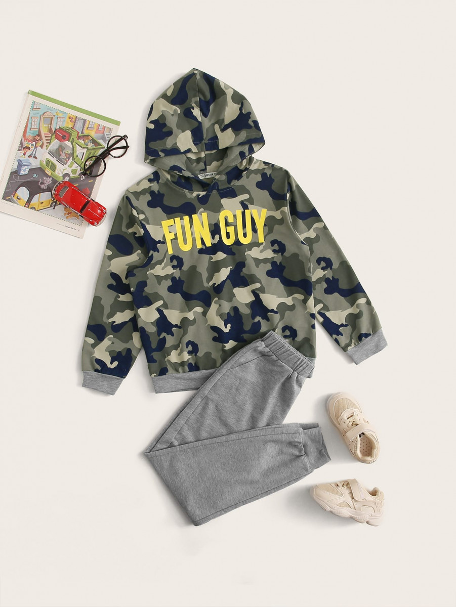 Boys Camo & Slogan Graphic Hoodie & Joggers Set
