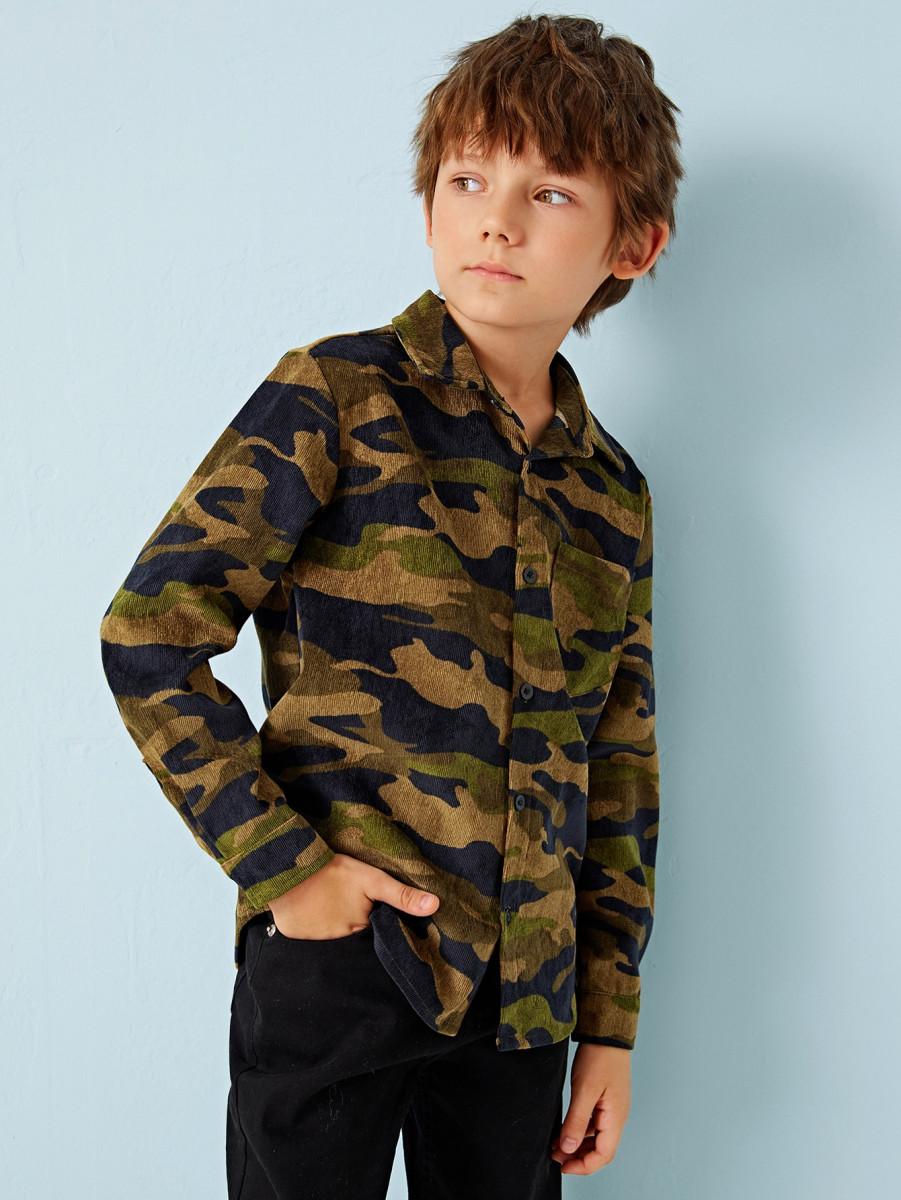 Boys Camo Print Pocket Patched Cord Shirt