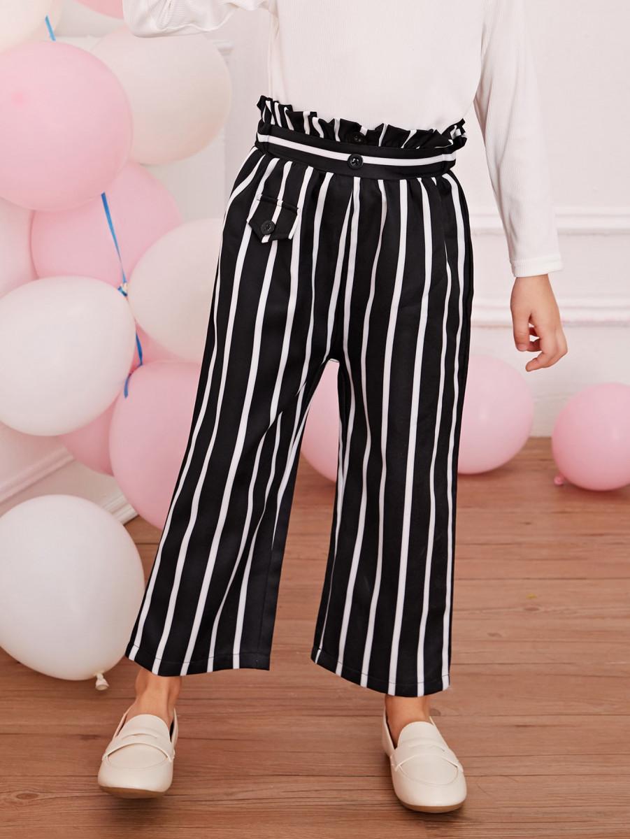 Toddler Girls Vertical-striped Paperbag Wide Leg Pants