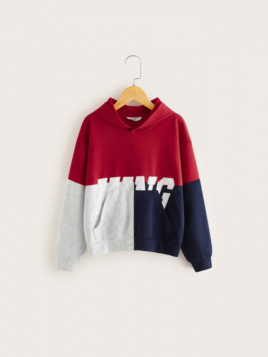 Boys Colorblock Letter Graphic Hoodie