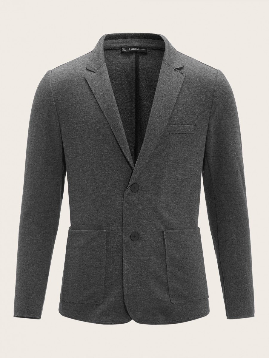 Men Notched Collar Pocket Front Tailored Blazer