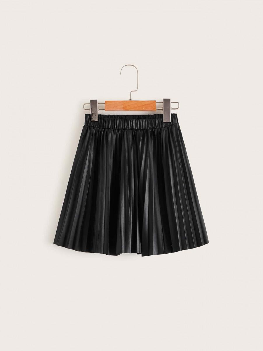 Girls Elastic Waist Pleated Coated Skirt