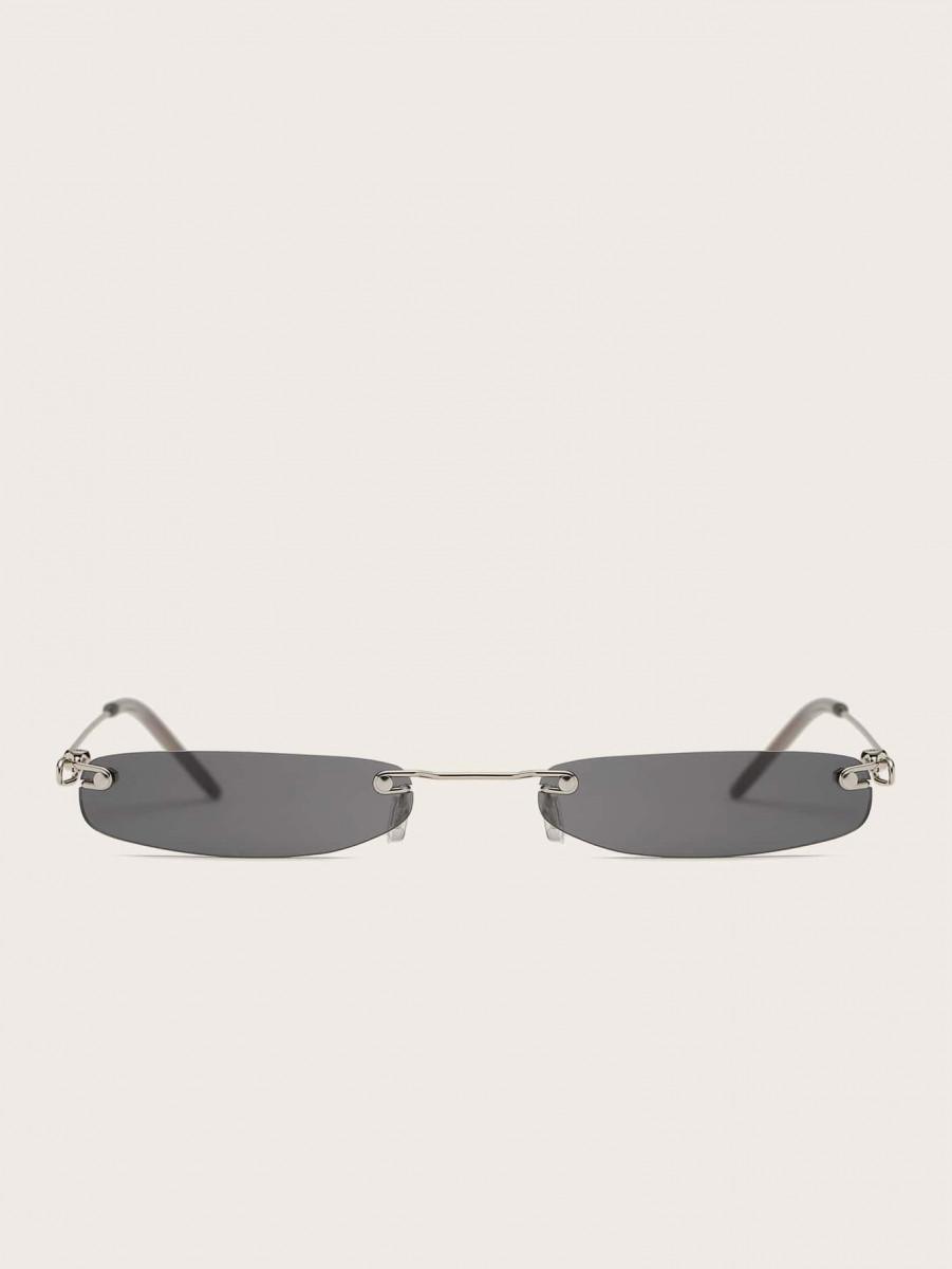 Men Rimless Rectangle Frame Sunglasses