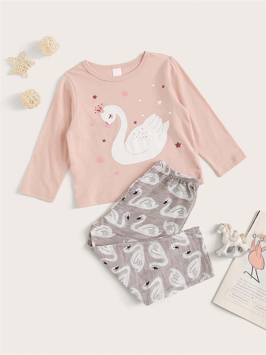 Toddler Girl Swan Print PJ Set