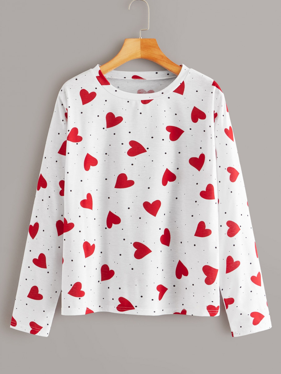 Polka Dot And Heart Print Tee