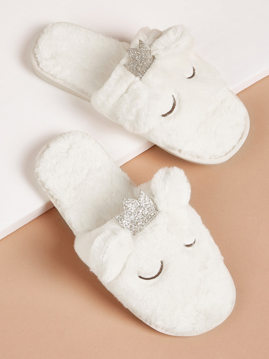 Glitter Crown Decor Fluffy Slippers