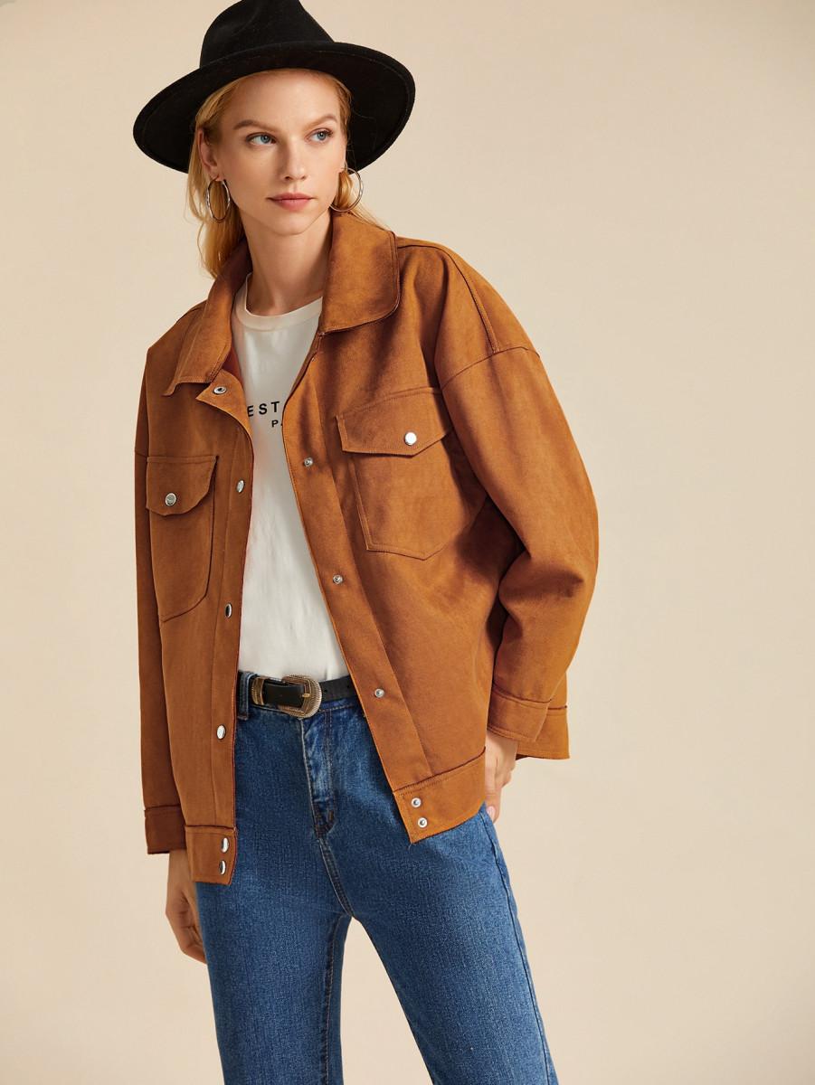 Suede Flap Pockets Popper Front Coat
