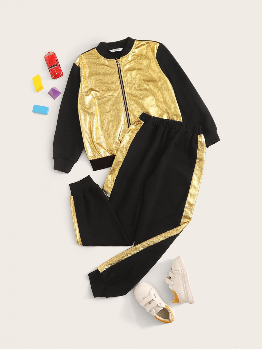 Boys Zipper Metallic Panel Bomber Jacket & Sweatpants Set