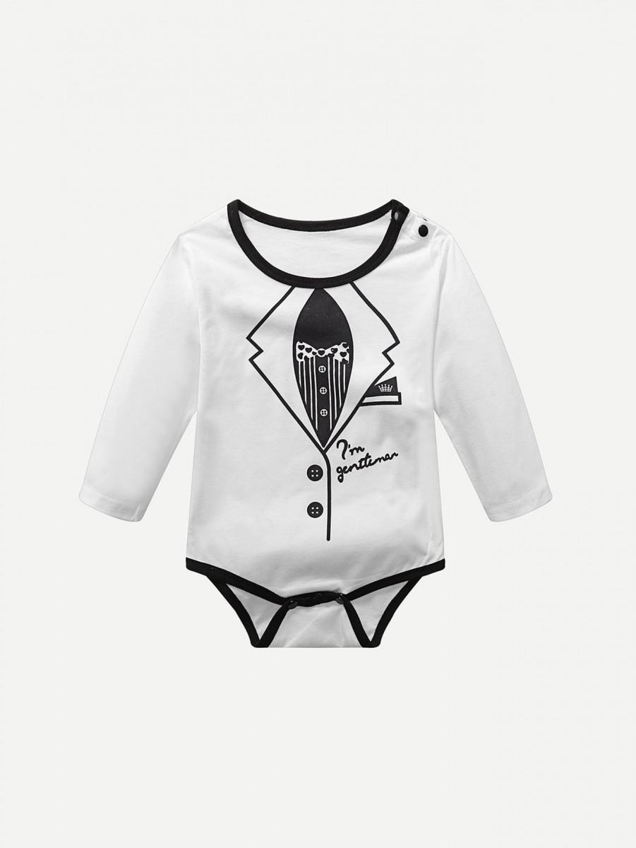 Toddler Boys Gentleman Print Jumpsuit