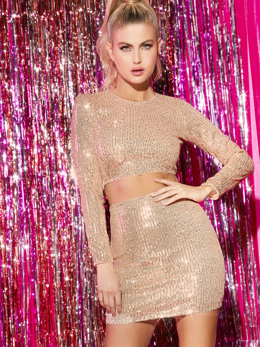 Sequin Crop Top & Bodycon Mini Skirt Set