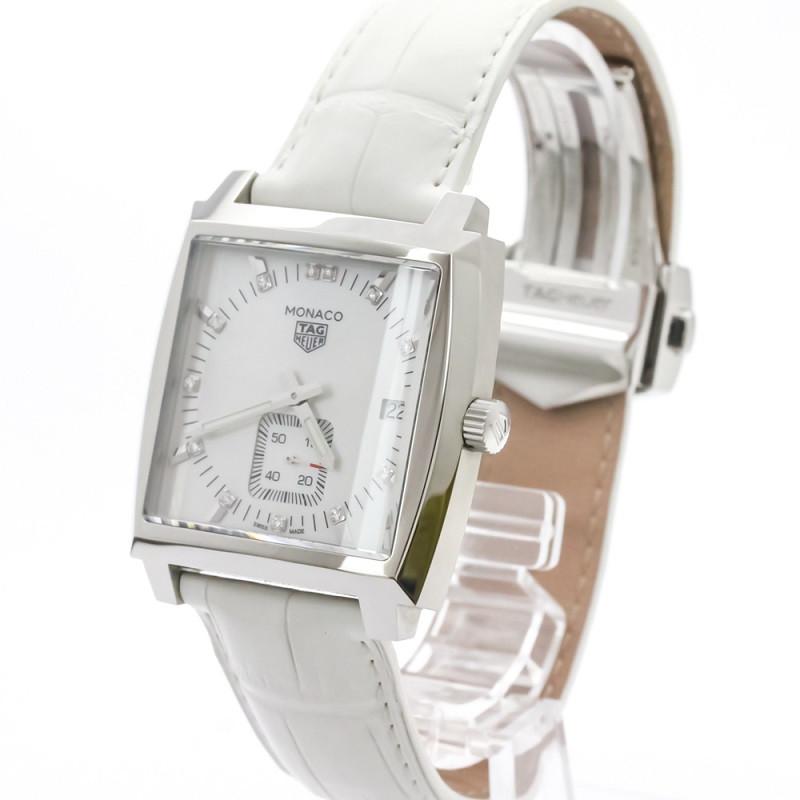 Tag Heuer MOP Stainless Steel Diamond Monaco WAW131B Women's Wristwatch 37 MM
