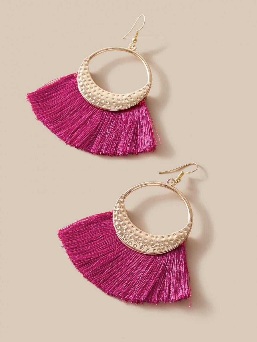 1pair Fan Tassel Drop Earrings