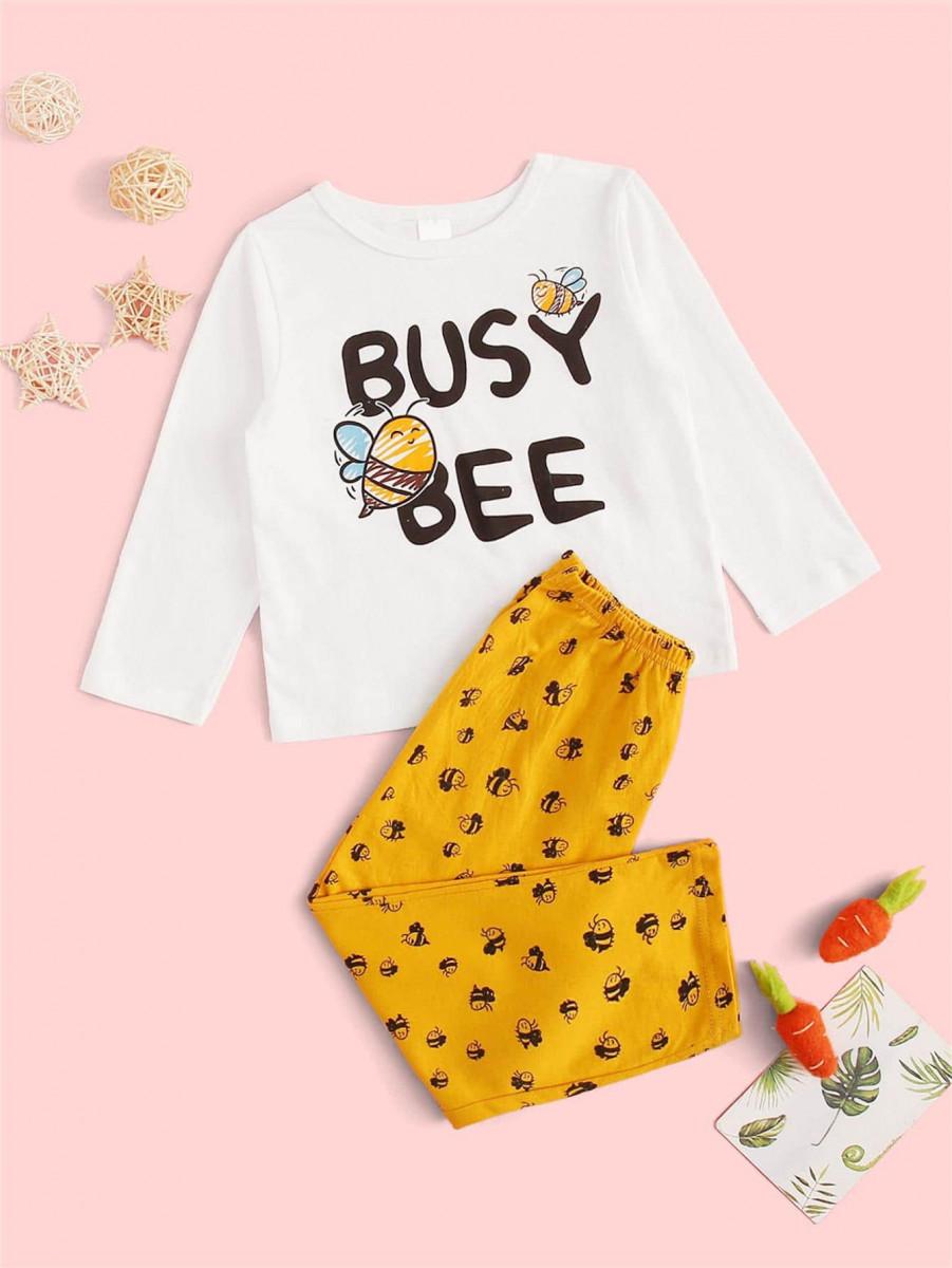Toddler Girls Bee Print PJ Set