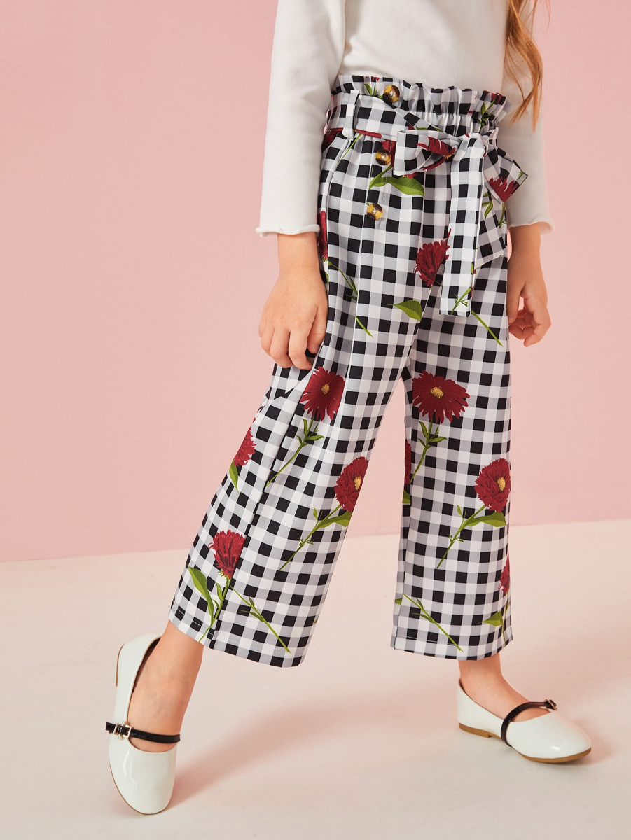 Toddler Girls Floral And Gingham Paperbag Pants