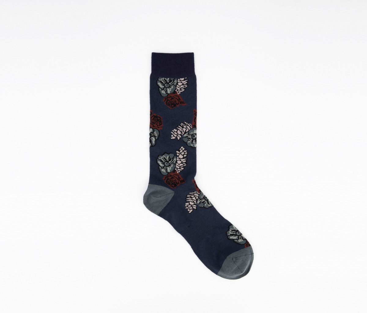 Bar Iii Mens Pine Cone Floral Socks  Teal/Red