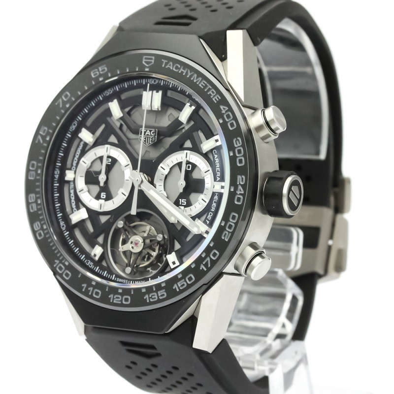 Tag Heuer Black Ceramic And Stainless Steel Carrera Chronograph Tachymeter ACBF5A80 Men's Wristwatch 45 MM