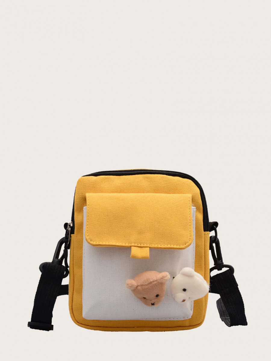 Kids Two Tone Bear Decor Crossbody Bag