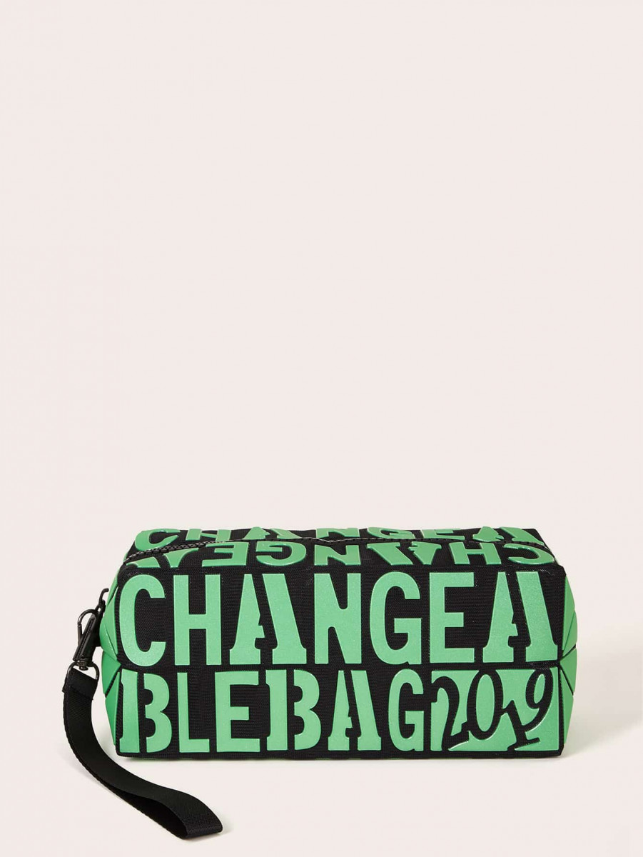 Letter Graphic Makeup Bag