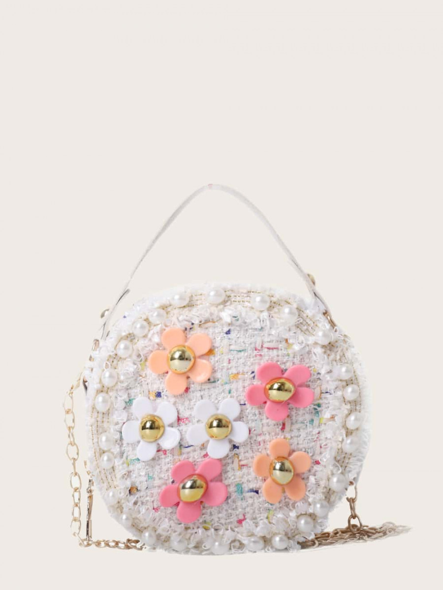 Girls Floral Applique Tweed Satchel Bag