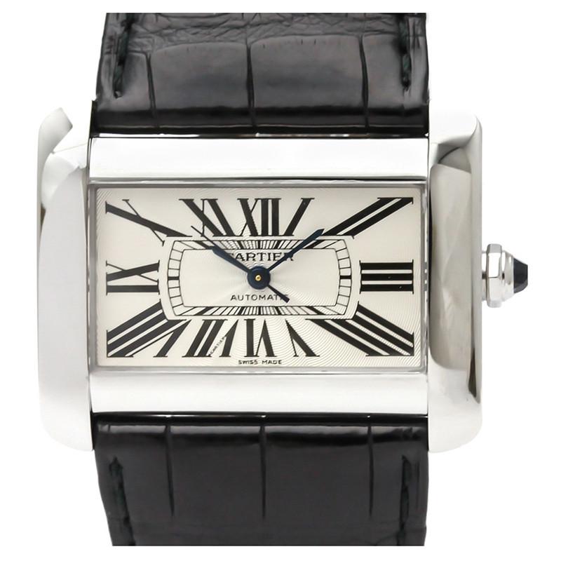 Cartier Silver Stainless Steel Tank Divan W6300755 Men's Wristwatch 38MM