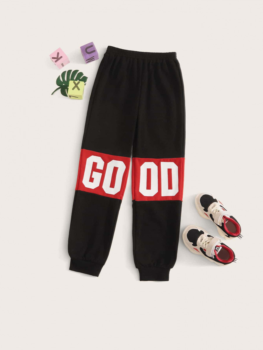Girls Elastic Waist Letter Graphic Joggers