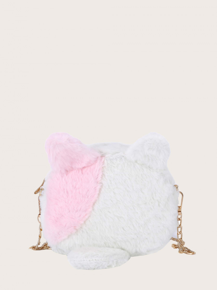 Girls Two Tone Fluffy Chain Bag
