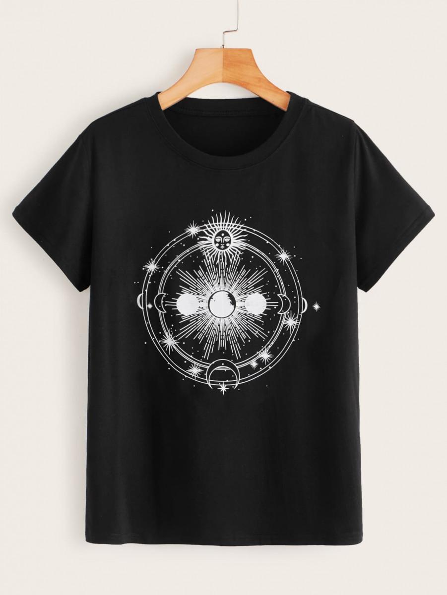 Sun & Moon Print Round Neck Tee