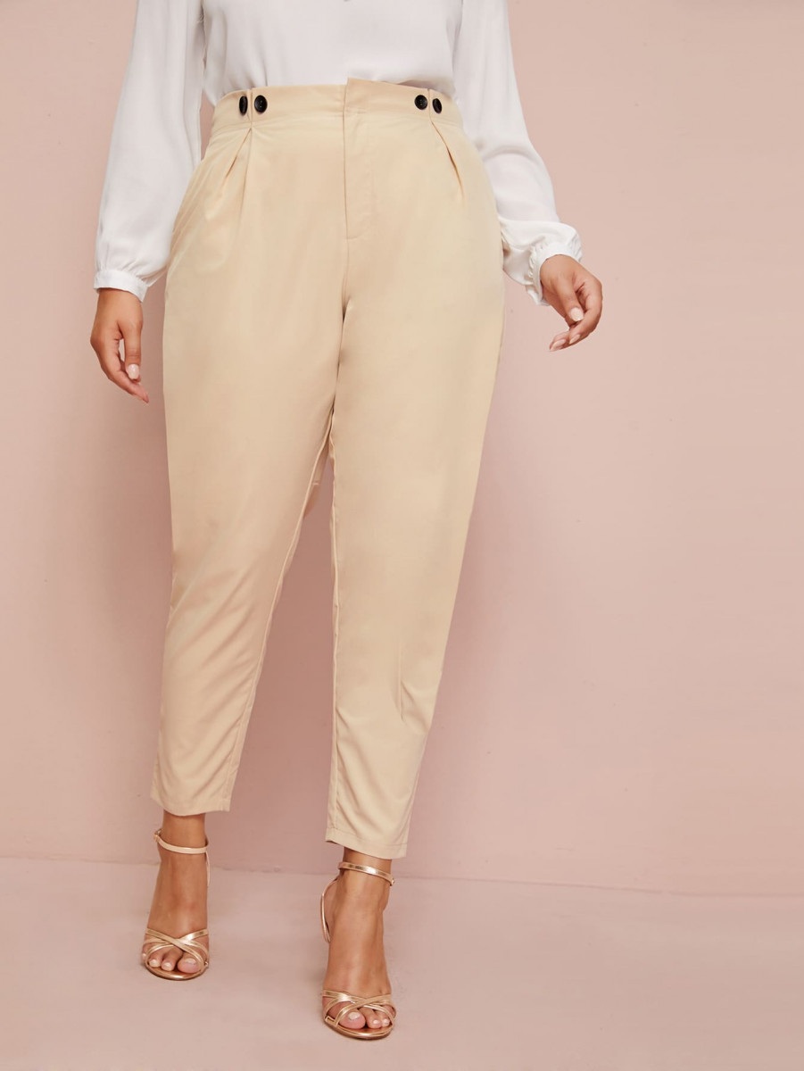 Plus Button Detail Plicated Tailored Pants
